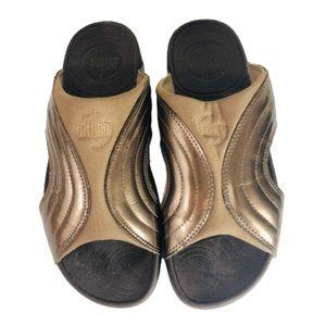 FitFlop 'Freeway' Bronze Slide On Sandals